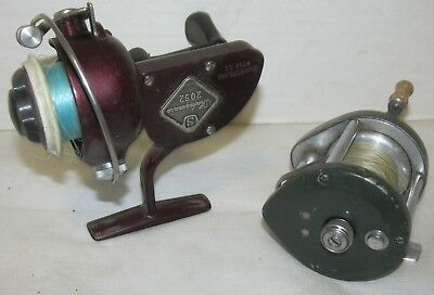 Lot of 2 Vintage Spinning Reels Shakespeare 2052 EC & Ocean City 1600 LQQK!