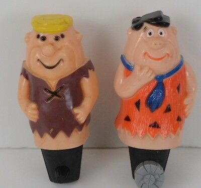 THE FLINTSTONES Fred Flintstone & Barney VINTAGE NIGHT LIGHT SET