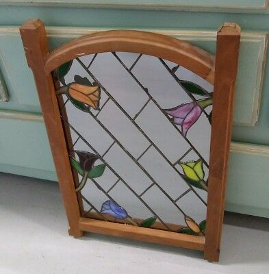 "Stained Glass Decorative Floral Mirror Wall Hanging Hand Made Leaded 23""x16"" Vtg"