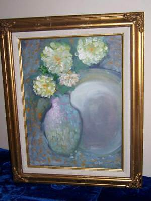 Floral Still Life White Botanical Flowers & Vase Oil Painting Sgn Jo-Ro