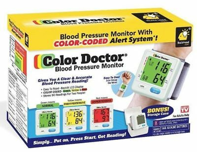 COLOR DOCTOR PORTABLE BLOOD PRESSURE MONITOR with STORAGE CASE - used in Box