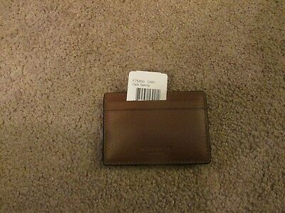 Genuine Coach Men's Money Clip Credit Card Holder NWT Dark Saddle