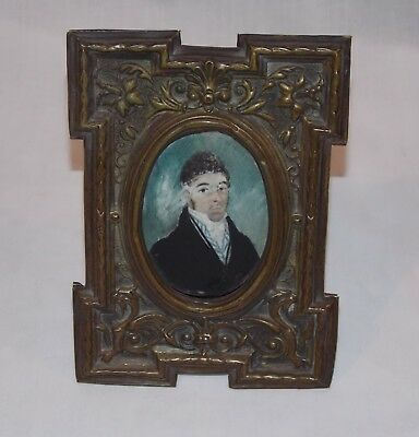 Miniature Painting of Young Man Georgian Era Unsigned in Metal Frame Antique