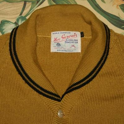 Vtg HEC GERVAIS Mustard Wool Curling Cardigan Sweater Large L