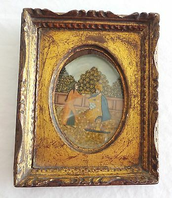 MUGHAL PERIOD HAND PAINTED MINIATURE PAINTING FRAMED UNDER GLASS SGND.  ZOLI'sP