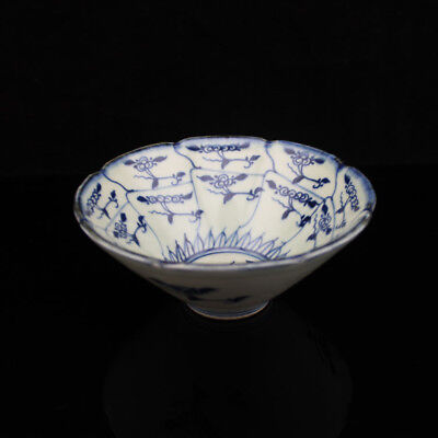 Chinese old hand-carved porcelain Blue & white flower pattern Hat to bowl