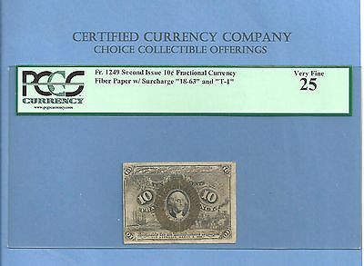 FR 1249 - Fiber Paper 10 Cents Washington Fractional Currency 2nd Iss PCGS VF 25