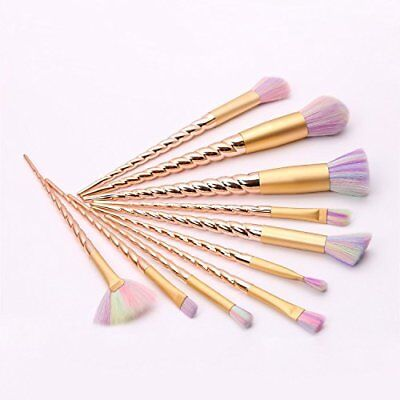 Unicorn Rainbow Makeup Brushes Set Soft Cosmetic Tool With Sponge 11Pcs (Gold)