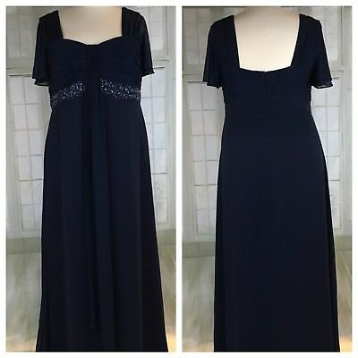 Davids Bridal Mother Of The Bride Gown Dress PLUS Size 22W Navy Slimming