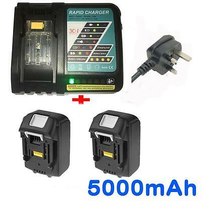 2x 5.0AH 18V Battery for Makita BL1850 BL1840 BL1830 BL1815 LXT400+Rapid Charger