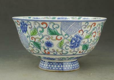 Chinese old hand-made porcelain famille rose flower pattern bowl /qianlong mark