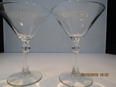"""Beefeater London Dry Gin Martini Cocktail Glasses """"White Logo"""" : 6oz./6"""" tall-2"""