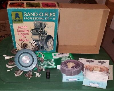Vintage Merit Abrasives Products  Sand-O-Flex Professional Kit NO.35 & 2 Refills
