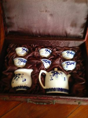 Chinese tea set NEW  blue and white 6 cups