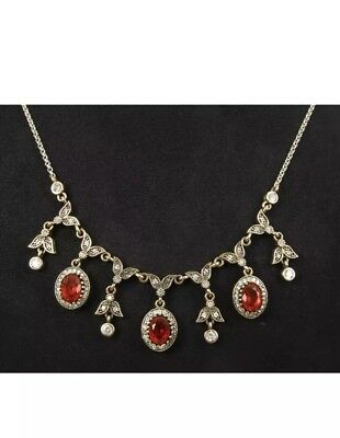 Gorgeous!  Antique Vintage Ruby & Sapphire 925 Silver Necklace.(28Gram).