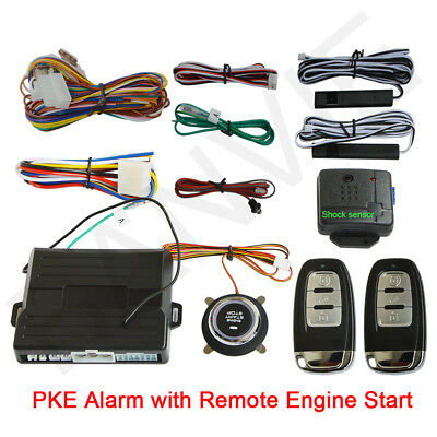 PKE Car Alarm System with Remote Engine Start & Engine Start / Stop Push Button