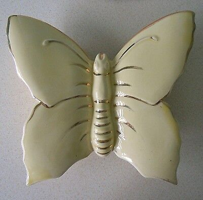 Vintage Porcelain/china Butterfly Wall Pocket, Yellow With 22 Ct Gold, Gd Con