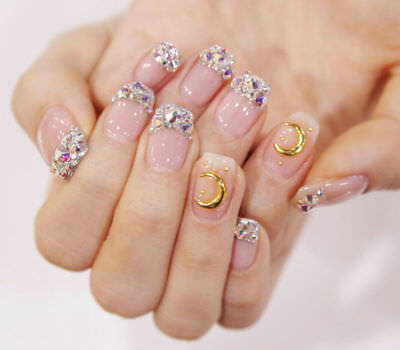 D191 24Pcs Japanese Style Starry Sky Non Glue Drill Nail Tips Fake Nails A