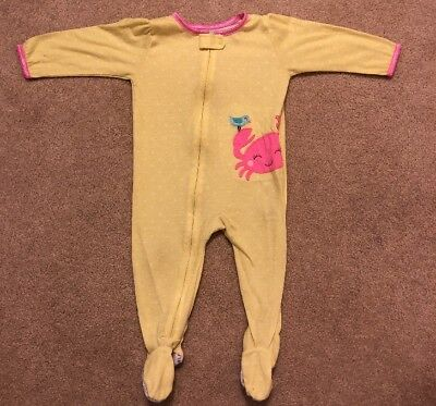 260085e7b CARTERS YELLOW FEET Pajamas Size 12 Months Zipper Baby Girl