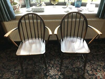 Pair Of Ercol Carver Dining Chairs Vintage Antique Solid Wood