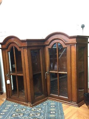 PAIR Quality Mahogany Antique Wall Display Cabinets Glass Front Workings Locks