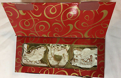 Avon Ornament Set 2001 Porcelain Gift Set With 24K Gold Accent