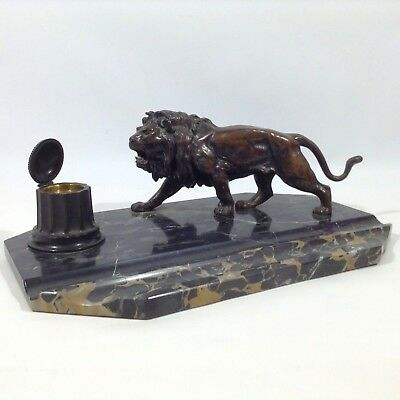 BIEDERMEIER EMPIRE art déco bureau Garniture encrier lion figure de bronze