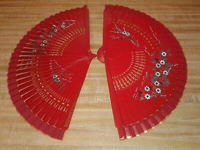 New RED Spanish Flamenco Fan Vintage Wooden Folding Hand Painted ESPANA Dancing