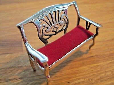 Novelty Edwardian Style Birmingham Hallmarked Sterling Silver Sofa Pin Cushion