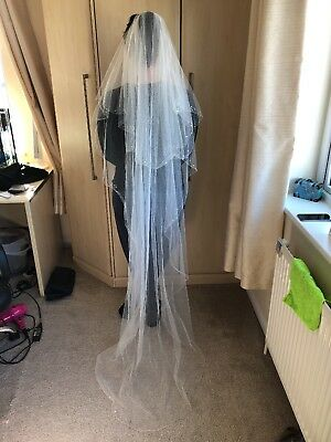 Stunning Cathedrael Length Veil Swarovski Jewels Used Once