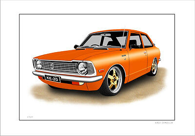Toyota Ke20 Corolla Coupe Limited Edition Car Drawing  Print ( 7 Car Colours)