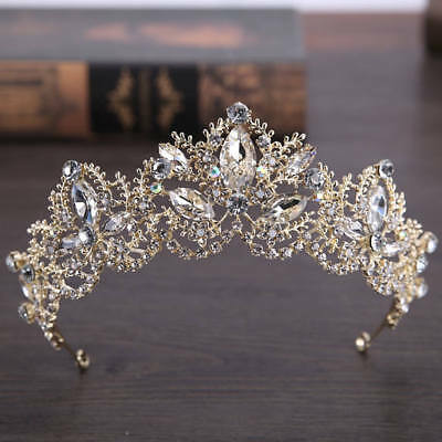 Baroque Luxury Big Rhineston Bridal Crown Tiaras Light GOLD Crystal Diadem Tiara