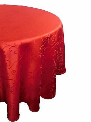 """Christmas Concepts® 60"""" Damask Red Round Tablecloth - Swirl Design - Home Or"""