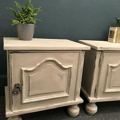 Pair Of French Painted Pale Grey Bedside Cabinets