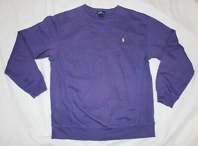 Boys XL Kids Polo Ralph Lauren Crew Neck Purple Sweatshirt Yellow Pony Size 20