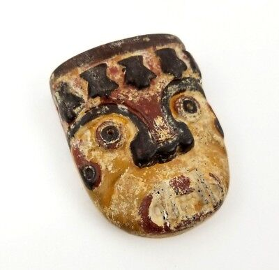 Antique Handmade Aztec Painted Clay Mask - Mexican War Mask Vintage Aztec Mask