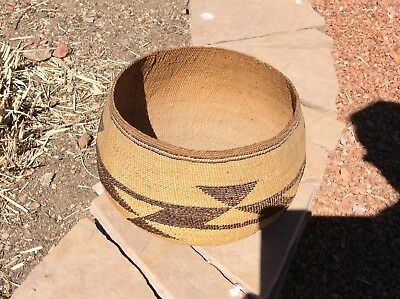 Beautiful Large 6 In. X 9 1/2 In. Hupa Basketry Bowl Fresh Old Estate Find N R.