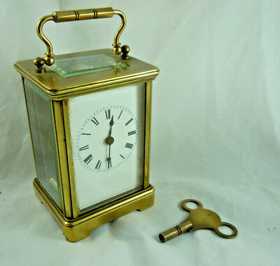 Antique Brass Carriage Clock Good Working Order.
