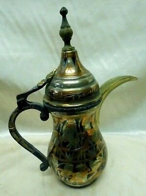 Estate Found Antique Middle Eastern Brass Pitcher with Copper Engraving Designs