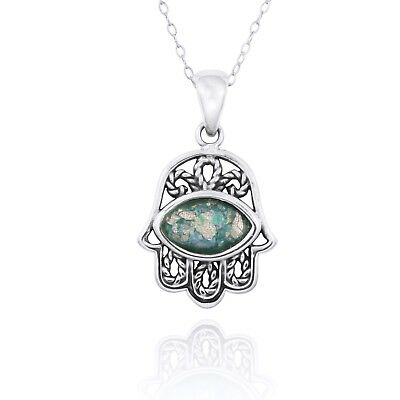 Hamsa For Good Luck 925 Sterling Silver Pendant With Ancient Roman Glass