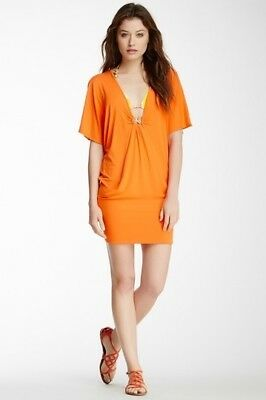 37852ef560607 Trina Turk Womens Small Nomad Solid Tunic Swimsuit Cover Up Tangerine NWT