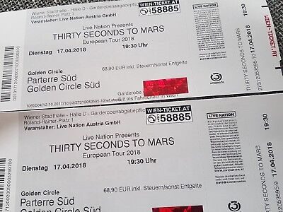 2 x 30 SECONDS TO MARS - am 17. April in Wien -Golden Circle -Sofort-Kauf 139,90