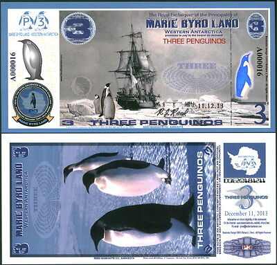 Polymer 11.12.13 Marie Byrd Land 3 Penguino Reg. Issue Fantasy Art Banknote!