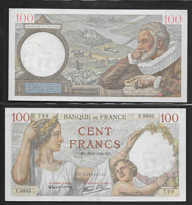 >>Awesome<< Ch/au 100 1940 >Banque Of France< 100 Cent Francs