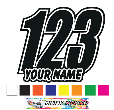 3 x custom race numbers and name vinyl stickers decals motorbike motorcross quad