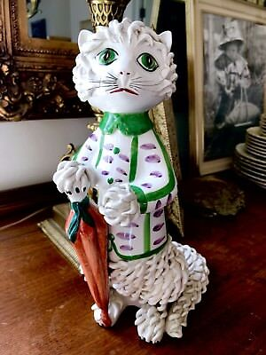 Vintage Large Spaghetti Cat Kitten Beautiful Majolica 1950s Animal Porcelain