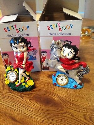 Lot of 2 Betty Boop desk clock unicorn and flowers