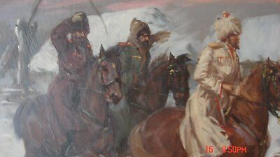 3 Kossaken ( Casakes) Oil Painting On Board