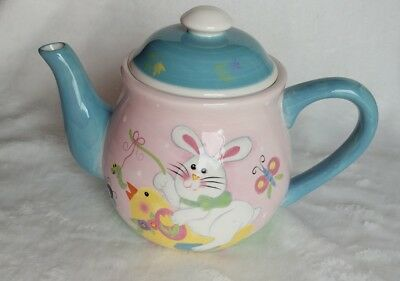 Easter 2004 Teapot ~Cute Whimsical Easter Scene~ From 2004 Easter Bunny Chicks
