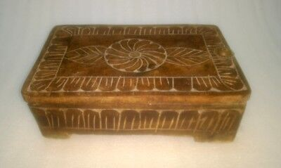 Antique Original Old Rare Hand Carved Wood Unique Indian Kitchen Herbs Spice Box